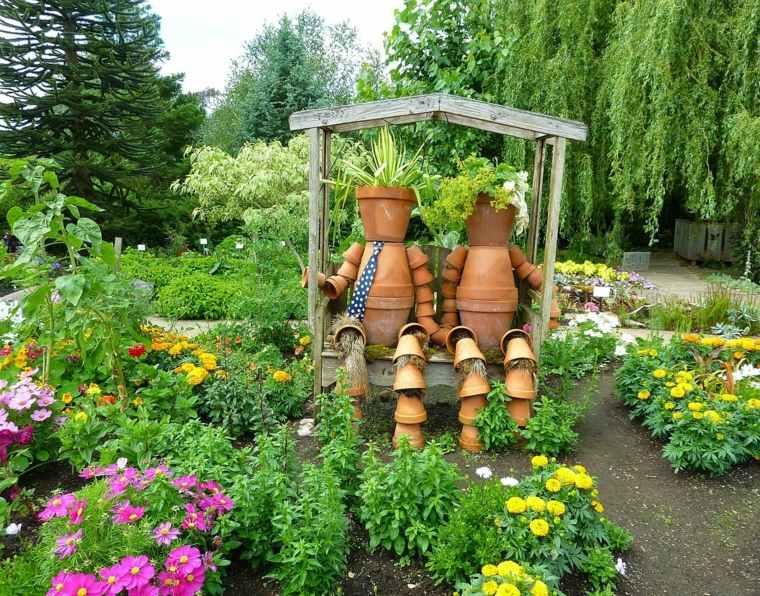 originales muñecos espanrtapajaros macetas adornos para jardin