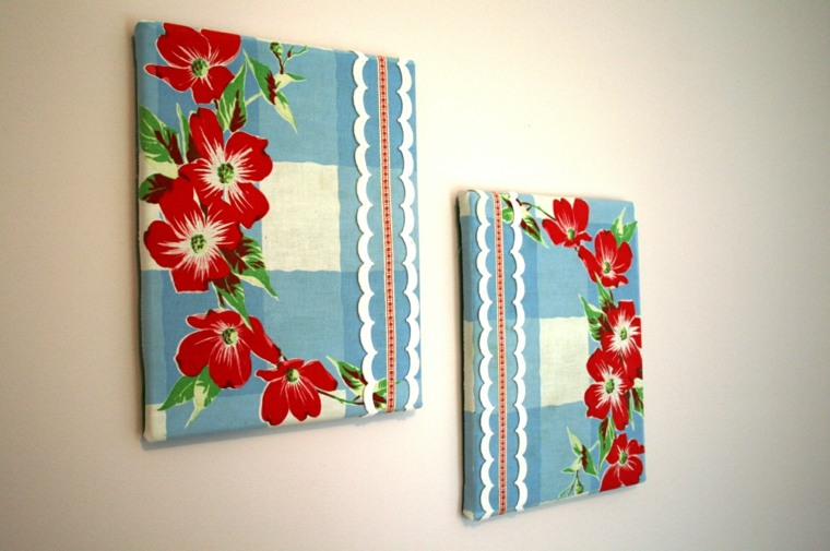 Tapices y decoraciones de pared con textiles 30 ideas for Diseno de paredes con cuadros