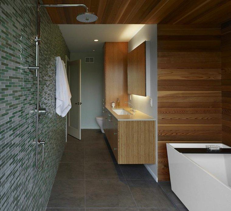 pared cuarto baño diseno madera