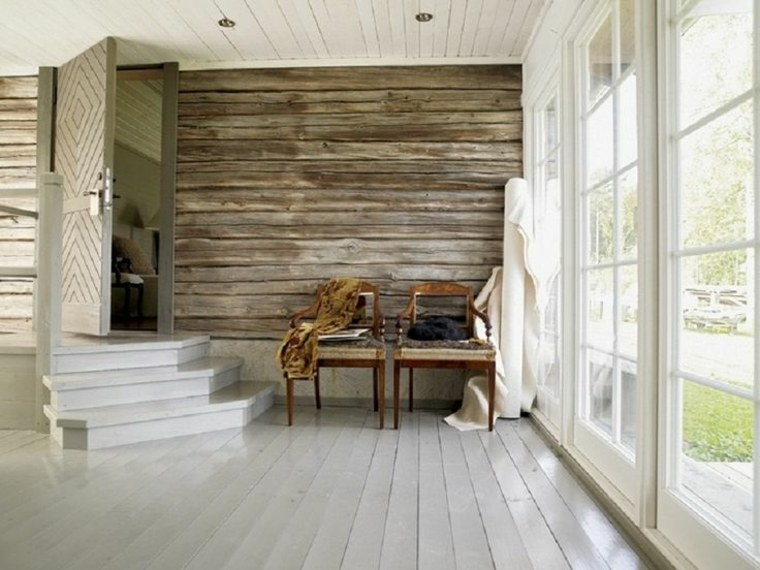Revestimiento de paredes interiores con madera 34 ideas for Pared rustica interior