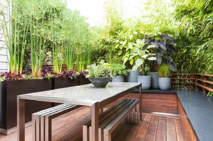 patio diseño colores aspectos muebles bambu