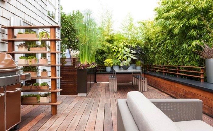patio diseño variantes esferas muebles estantes
