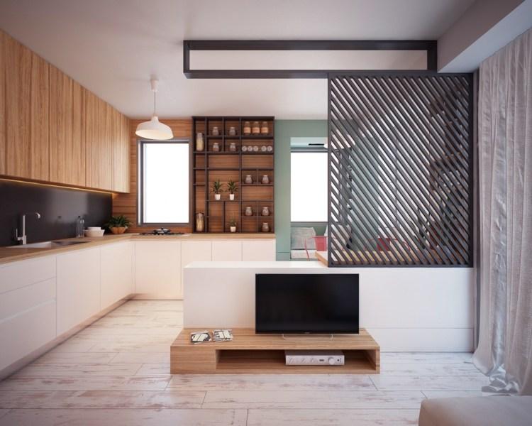 Salones peque os decoracion en 55 ideas geniales de xito - Separador de madera ...