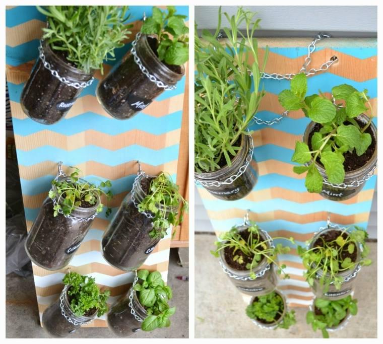 plantar hierbas tarros vidrio