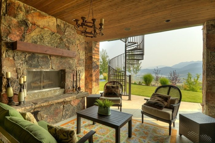 porches diseno estilo rustico chimenea vistas ideas