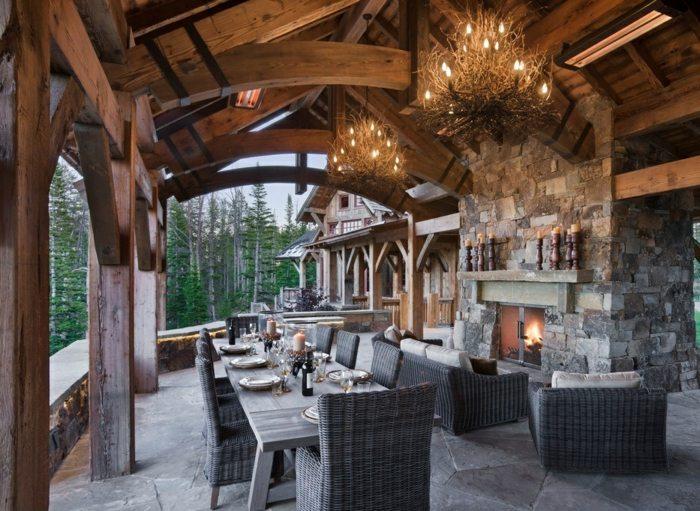 Porches r sticos 24 dise os inspiradores - Muebles estilo rustico moderno ...