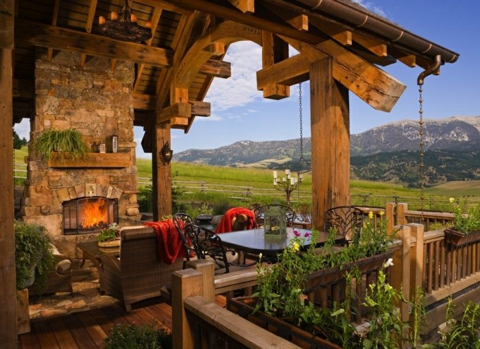 porches rusticos chimenea piedra porche ideas