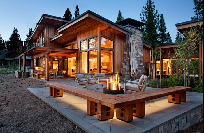 porches rusticos fuego bancos madera ideas