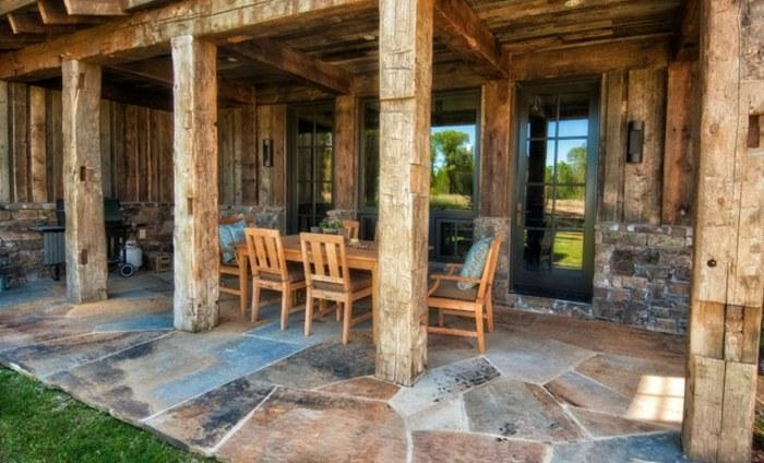 porches rusticos suelo losas grandes muebles madera ideas
