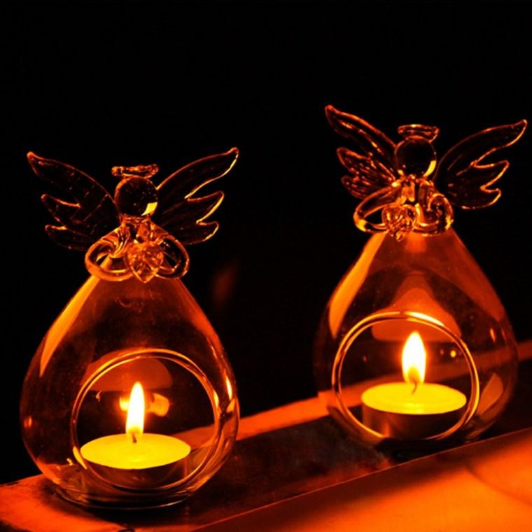 bonitas portavelas forma angelitos vidrio