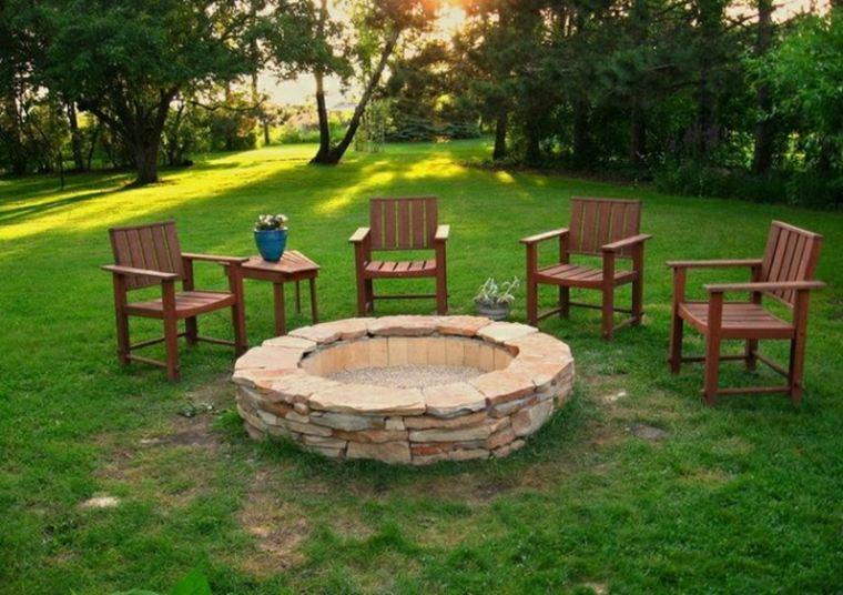 pozos jardin fuego chimenea piedra