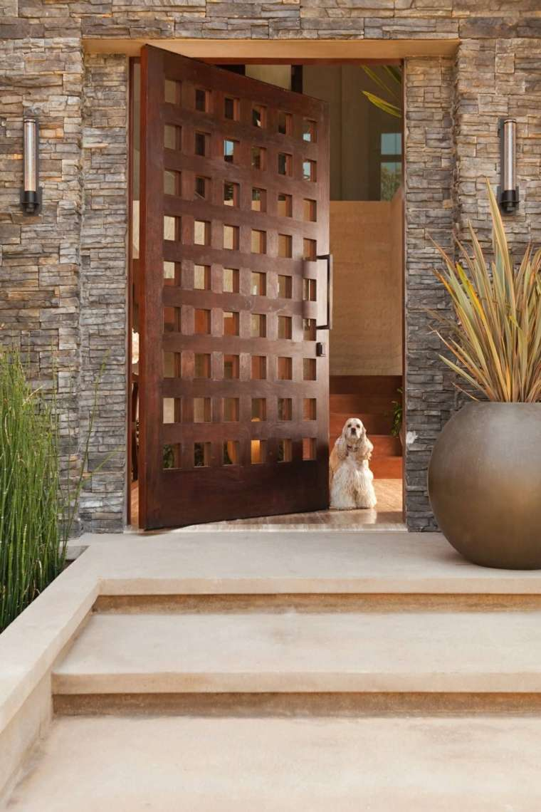 Puertas de entrada de dise o moderno 49 modelos for Puertas blancas con vidrio