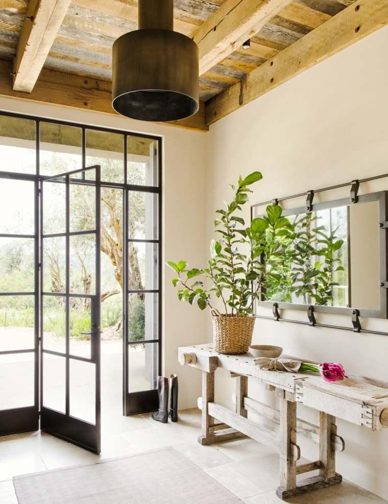 puerta vidrio estilo rústico
