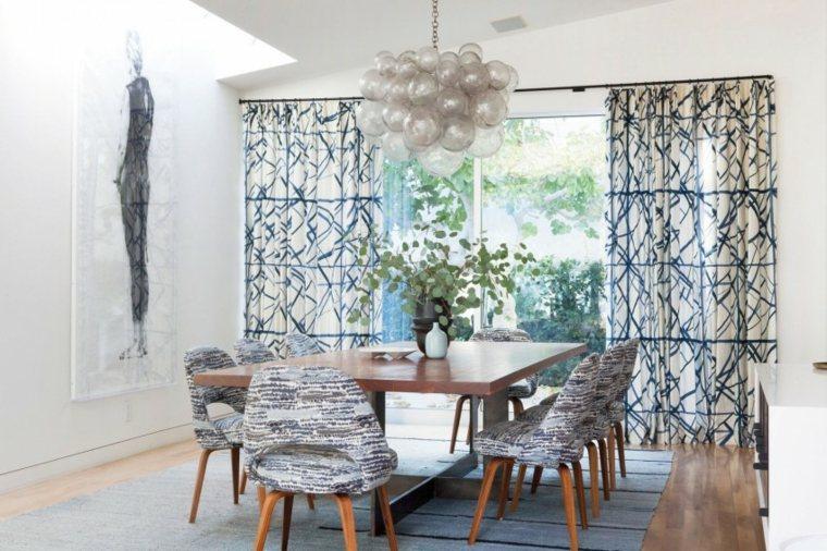 residencia moderna comedor cortinas llamativas ideas