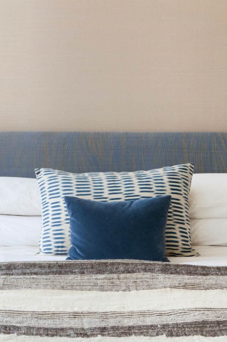 residencia moderna dormitorio cojines azules ideas