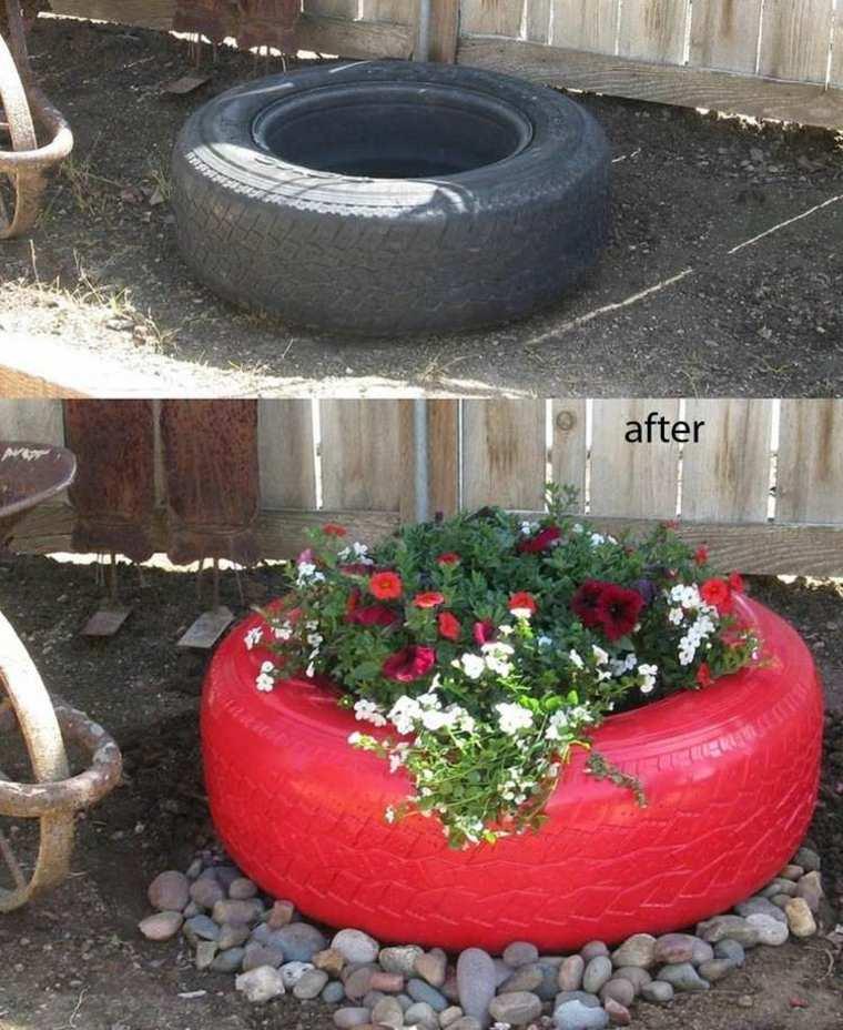 decorar jardín neumático viejo