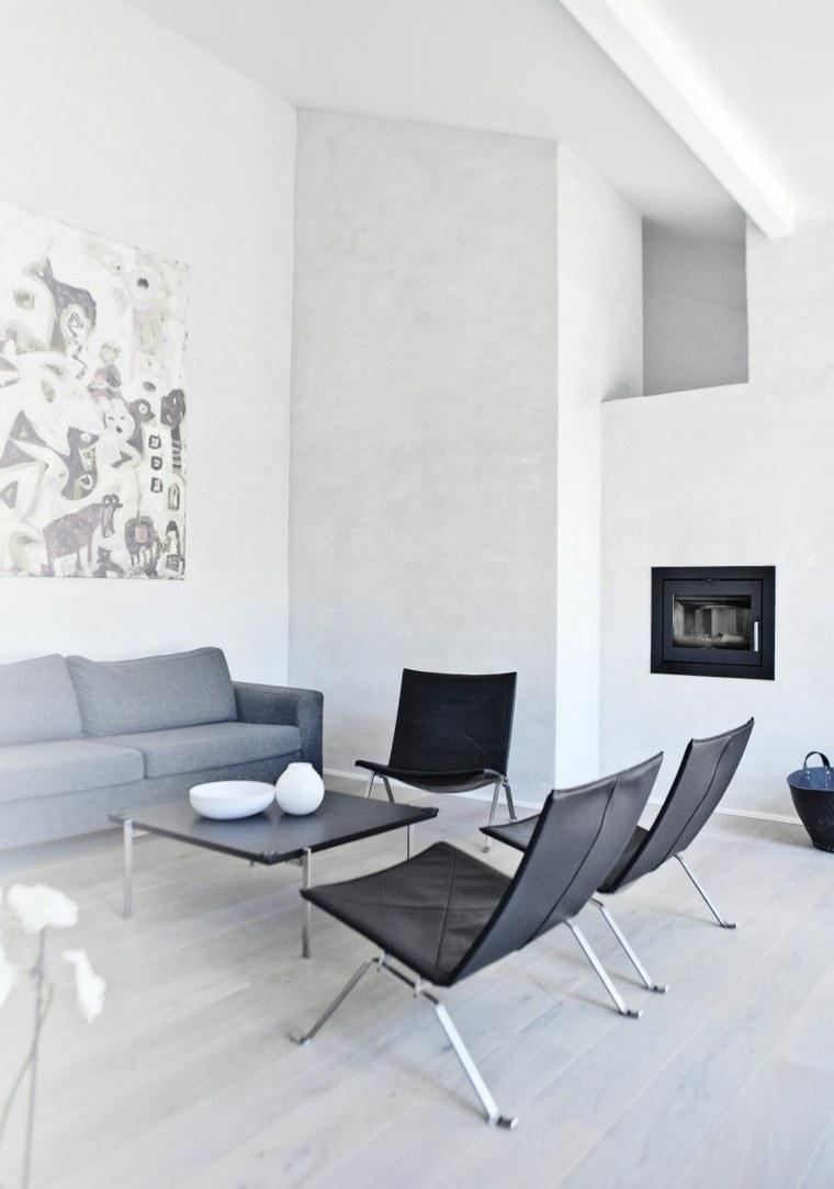 sala estar blanca chimenea moderna