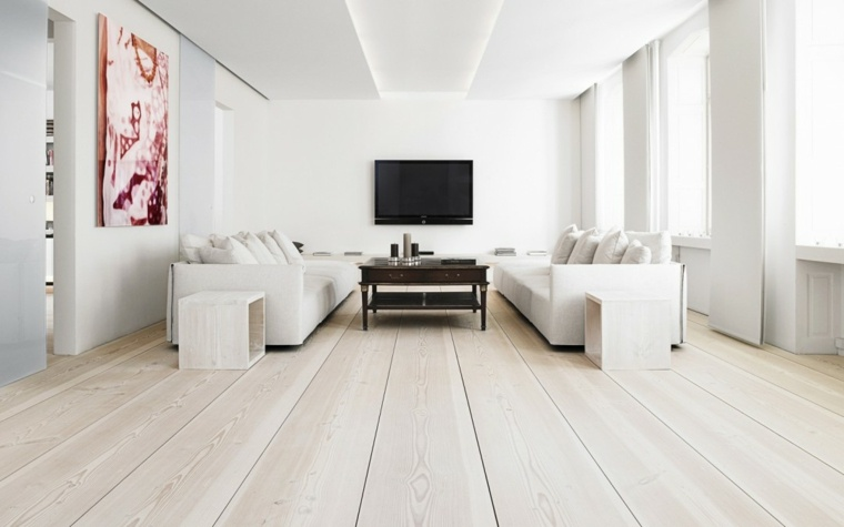 sala blanca suelo de madera