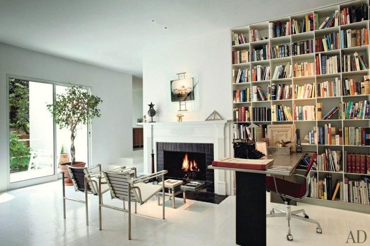 sala estar chimenea biblioteca moderna
