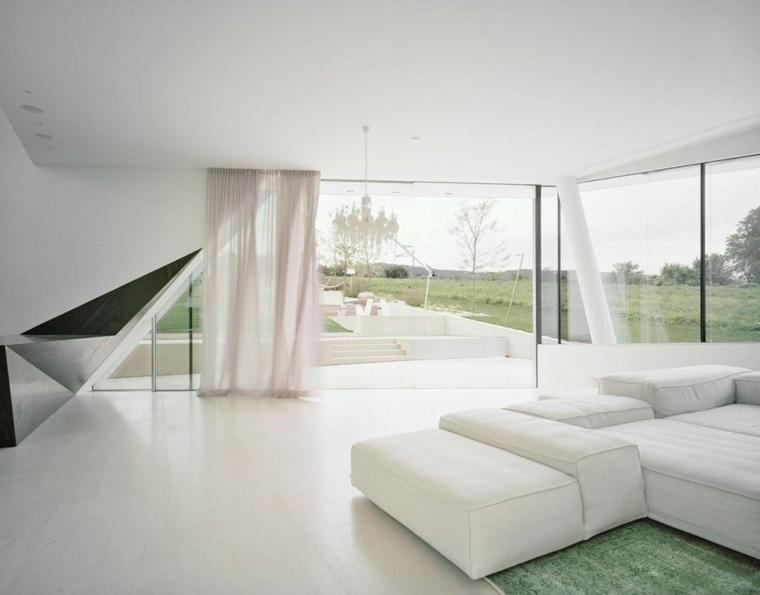 sala estar minimalista blanca detalles