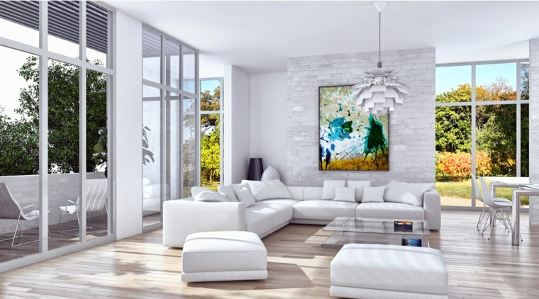 salas estar con muebles blancos