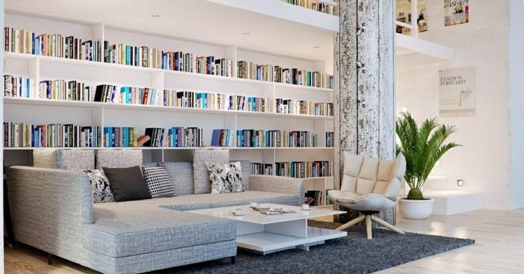 salon sala estar libreria minimalista