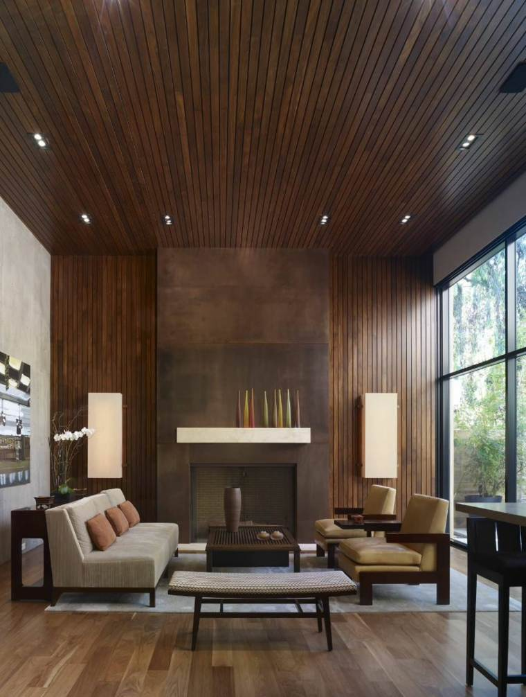 Revestimiento de paredes interiores con madera 34 ideas for Revestimiento pared salon