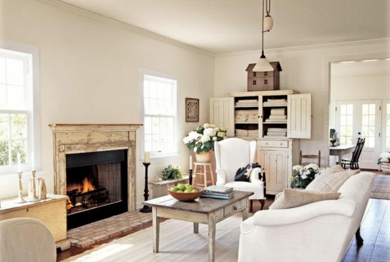 salon estilo clasico chimenea leña