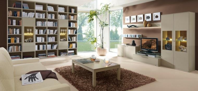 salon moderno mueble estantes libros