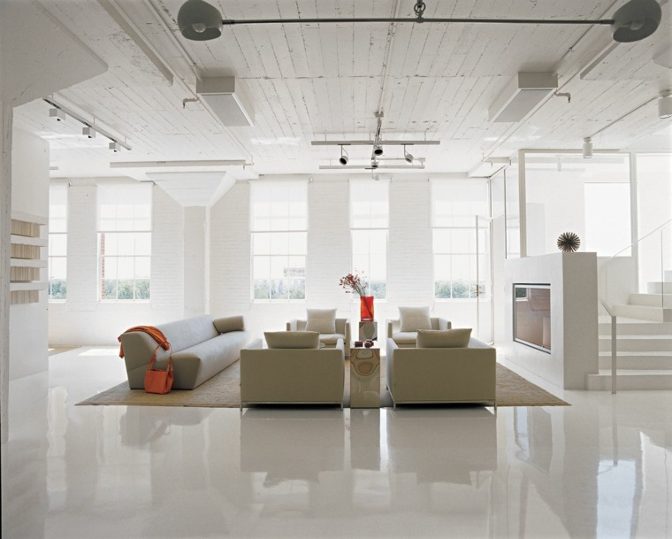 salon blanco suelo lacado brillante