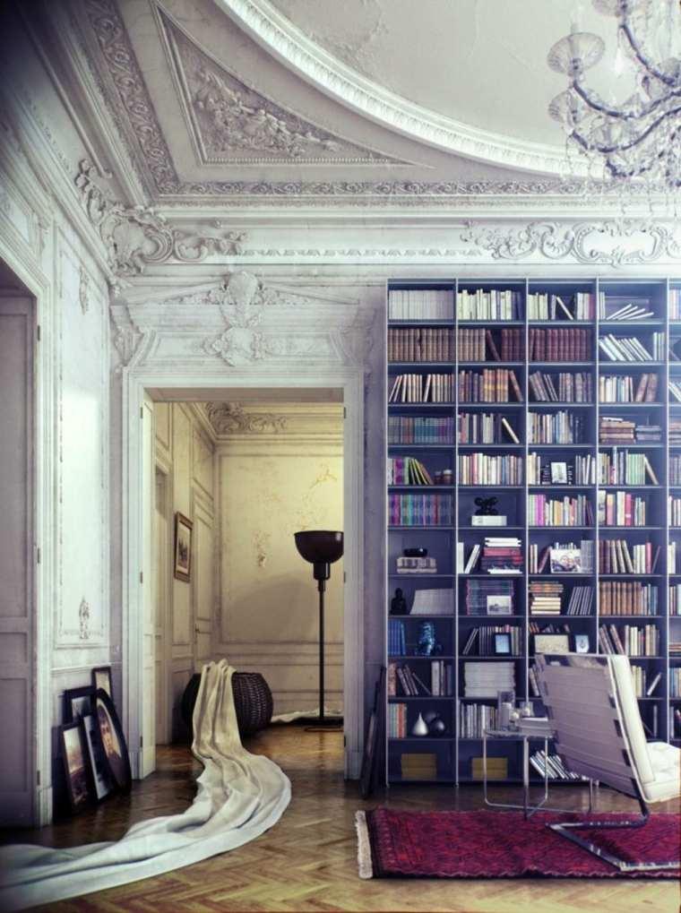 salon estilo clasico biblioteca moderna