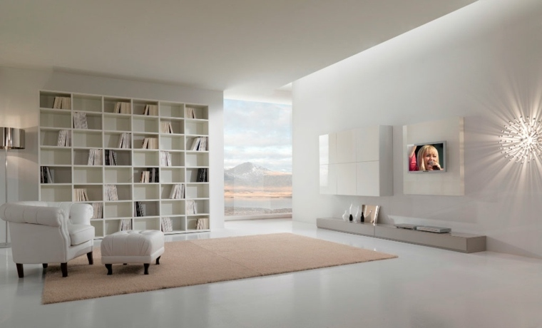 salón diseño lujoso blanco