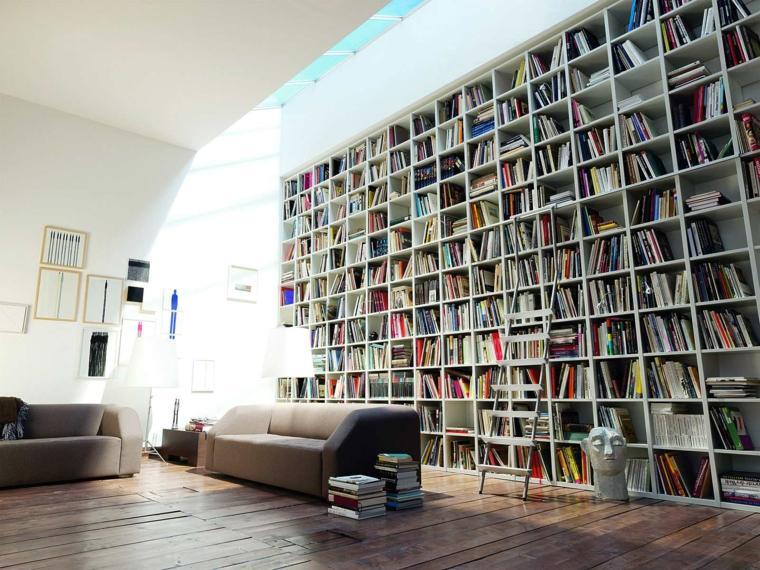 salon librerias enorme gris