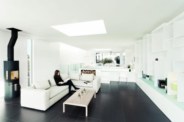 salon estilo moderno suelo negro