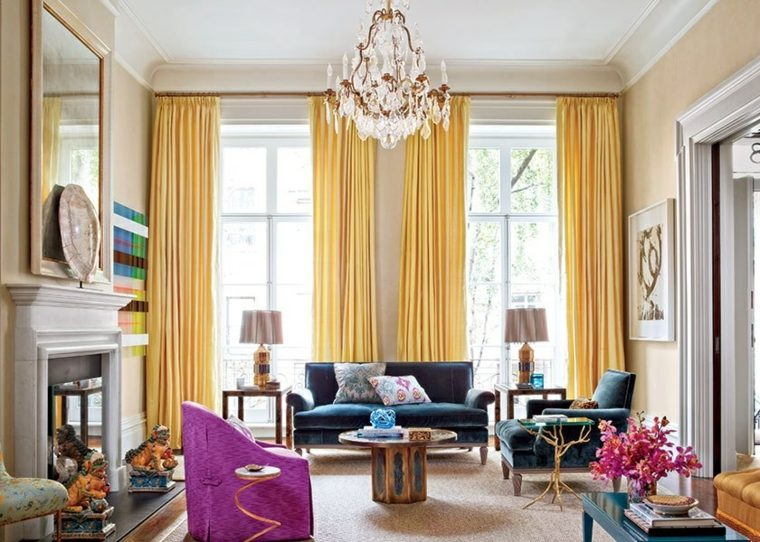 Salones con encanto y decoraci n moderna ideas y consejos for Cortinas amarillas