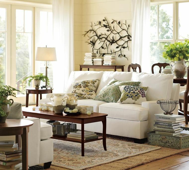 salones con encanto decoracion muebles salon mesa madera ideas