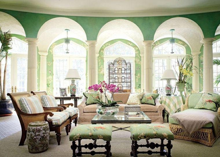 salones con encanto decoracion muebles salon paredes verde ideas