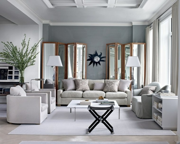 salones encanto decoracion muebles salon separador espacios espejos ideas