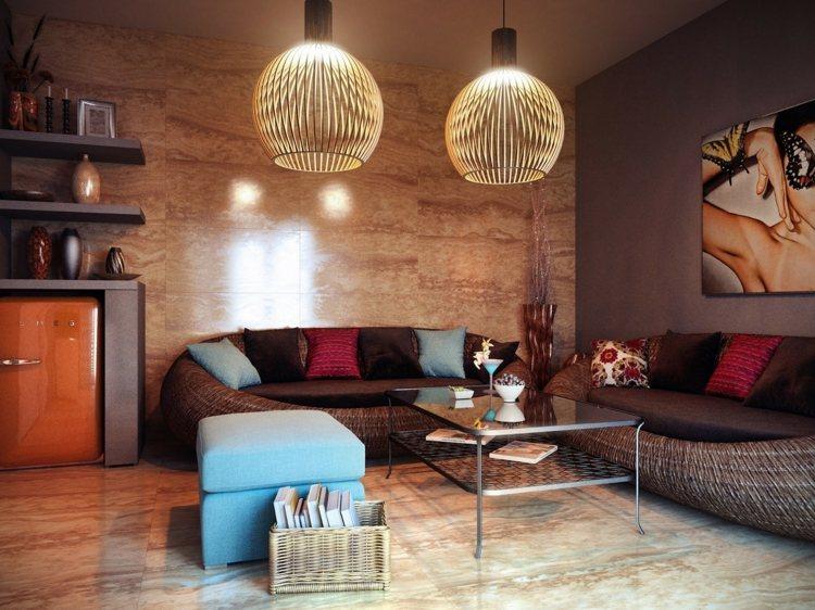 salones pequeños decoracion calidos tejidos lampara