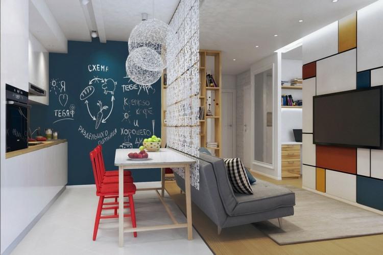 salones pequeños decoracion sillas rojas materias