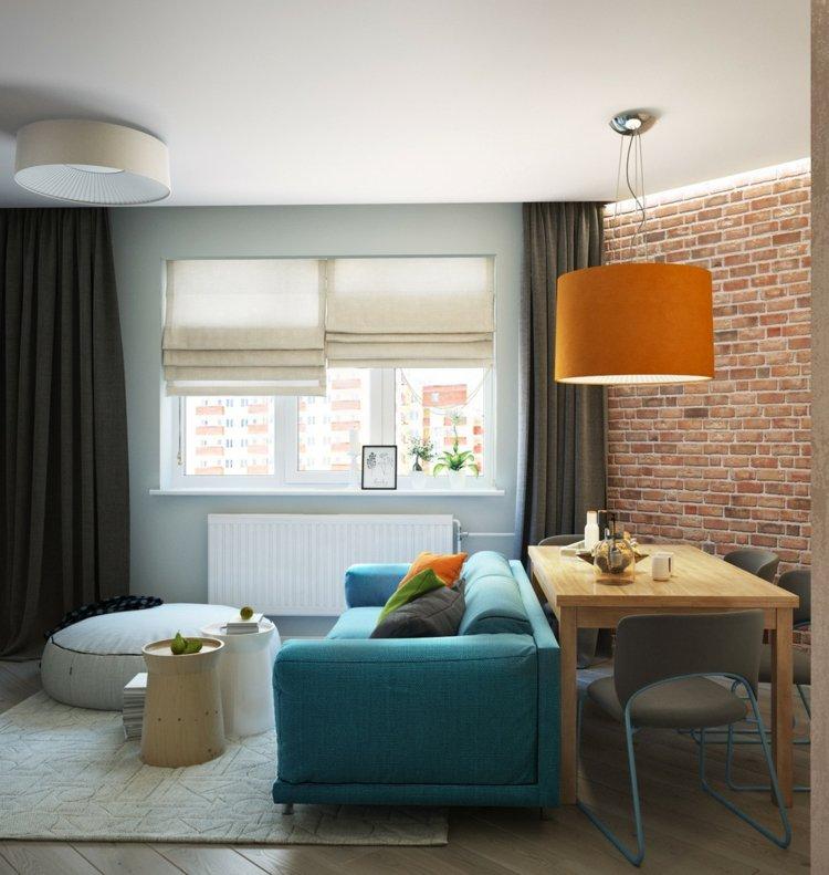 salones pequeños decoracion sillones azules ladrillos