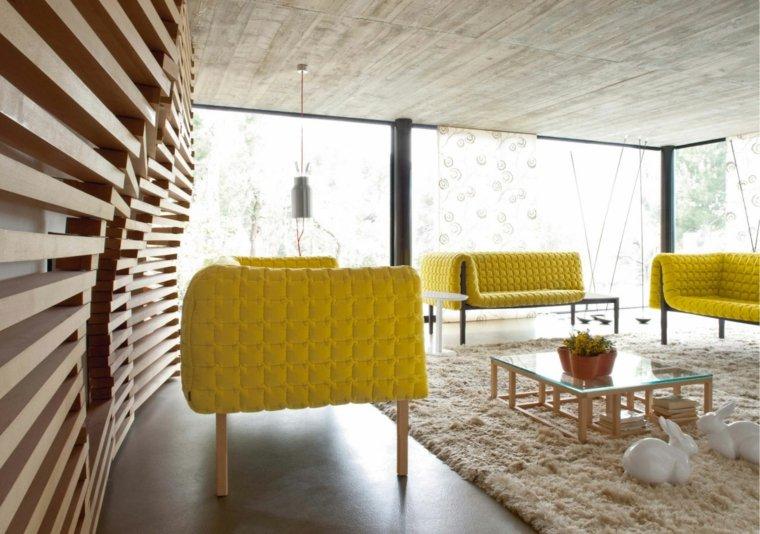 salones modernos revestimiento madera moderna