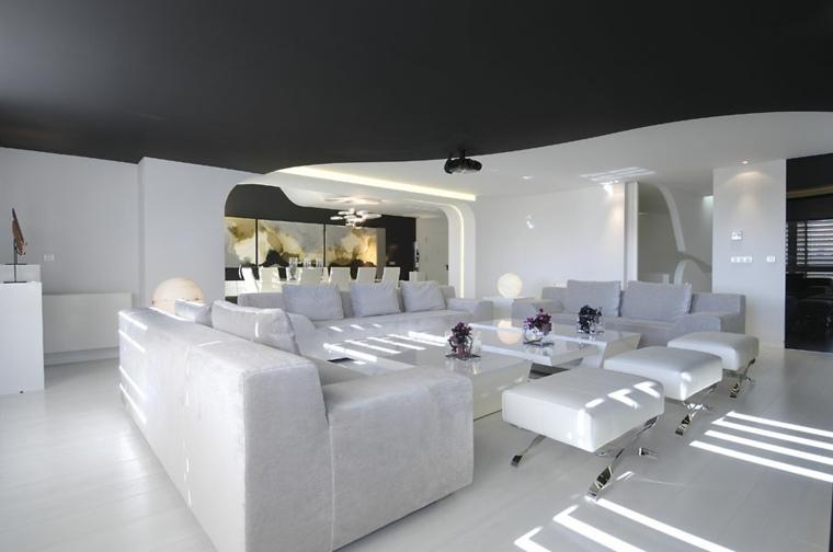salon blanco techo negro
