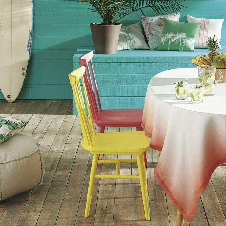silla madera colores efectos muebles manteles
