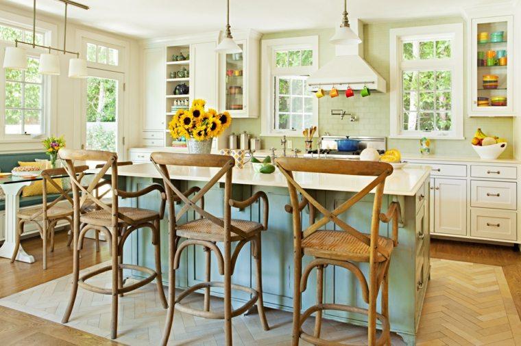 sillas altas madera cocina diseno estilo vintage ideas