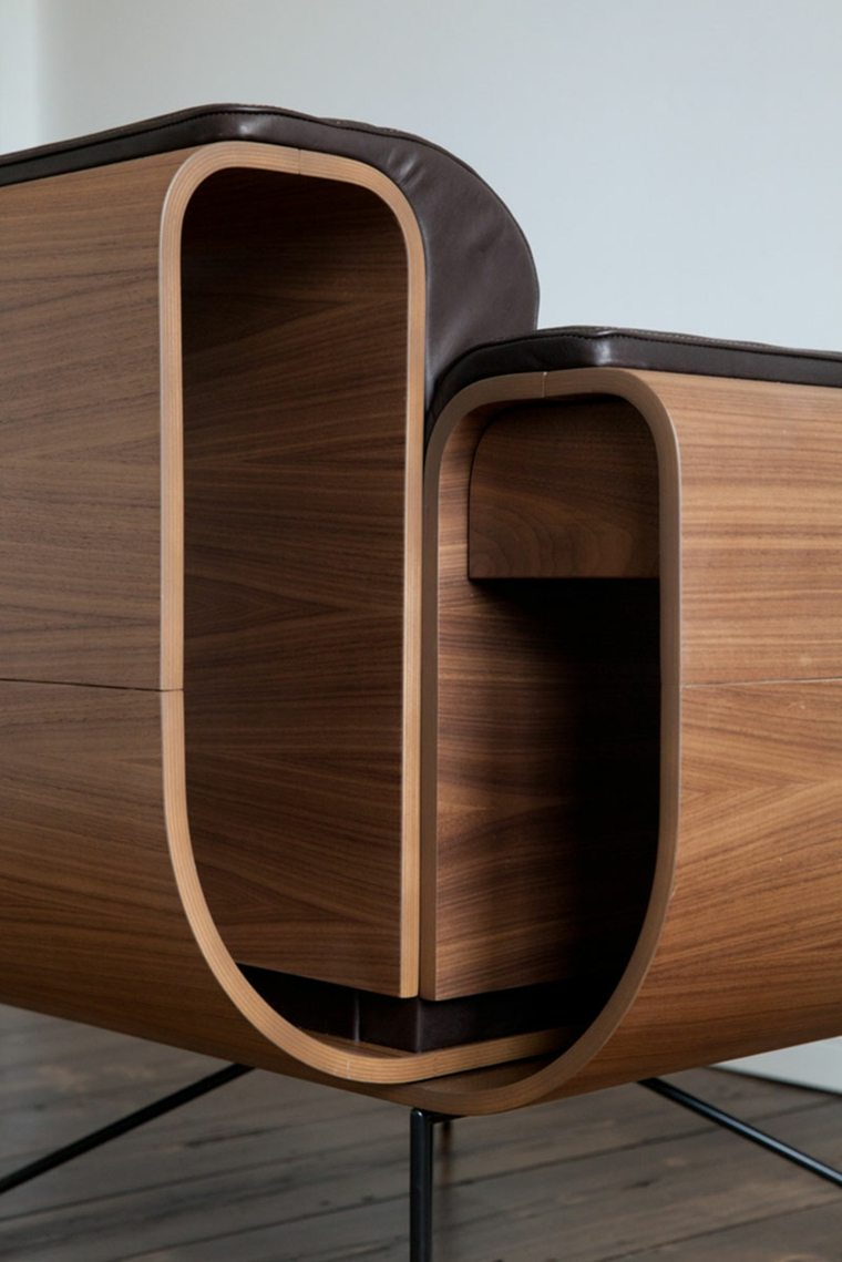 sillones diseno moderno madera lacada ideas
