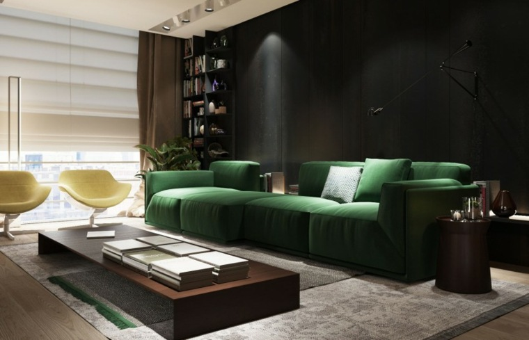 sofa verde sillas amarillas salon S&T architects ideas
