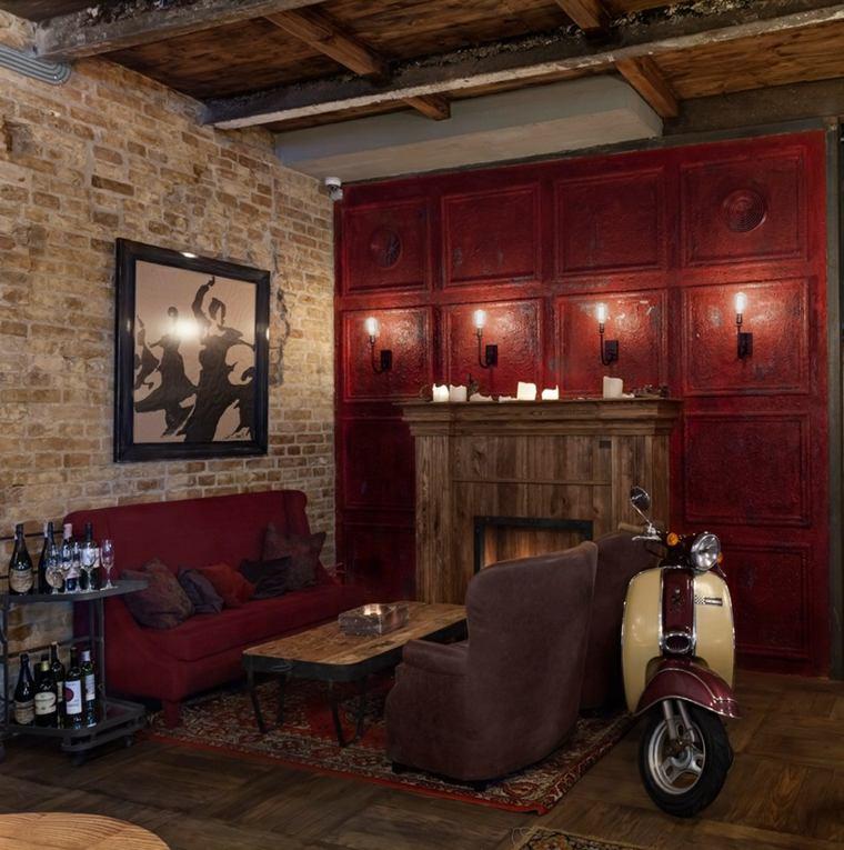 sofas mesa pared madera estilo vintage ideas
