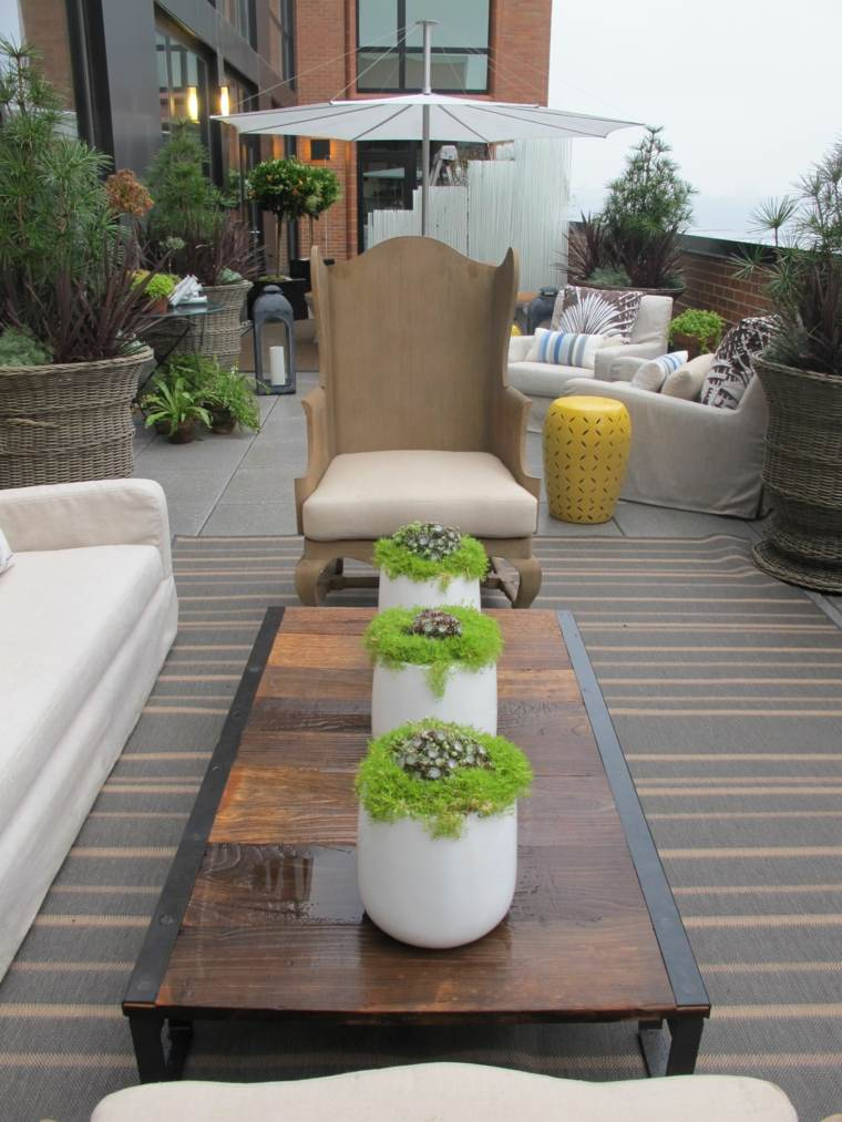 terraza moderna maceta blanca mesa ideas