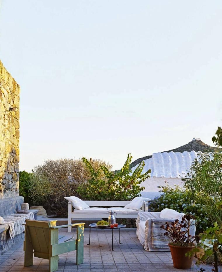 terraza muebles blancos diseno simple ideas